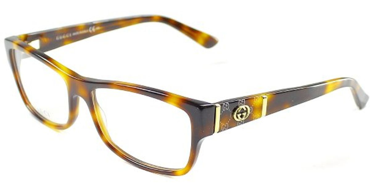 Gucci Women s Eyeglass Frames 2015 : Gucci Gg 3133 05l Havana Rectangle Plastic Eyeglasses in ...