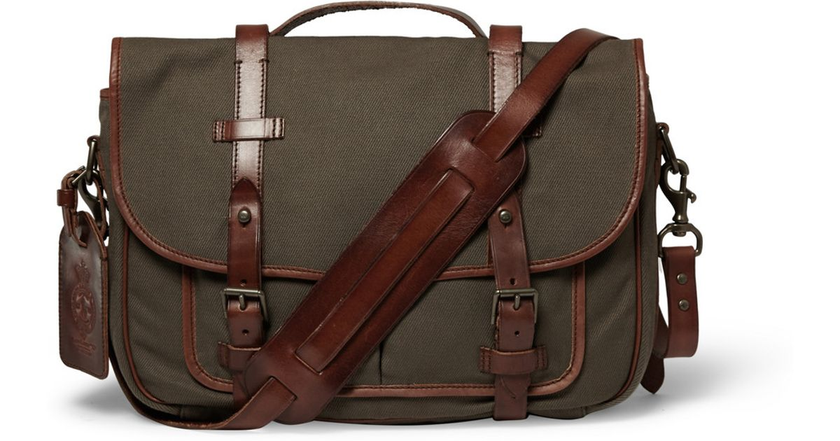 6b1001d5cd ... australia lyst polo ralph lauren canvas and leather messenger bag in  green for men d0cba 4475f ...