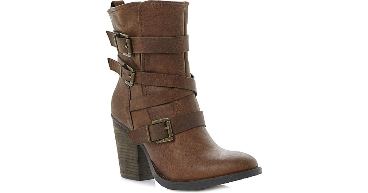 steve madden yale heeled buckle ankle boots in brown lyst