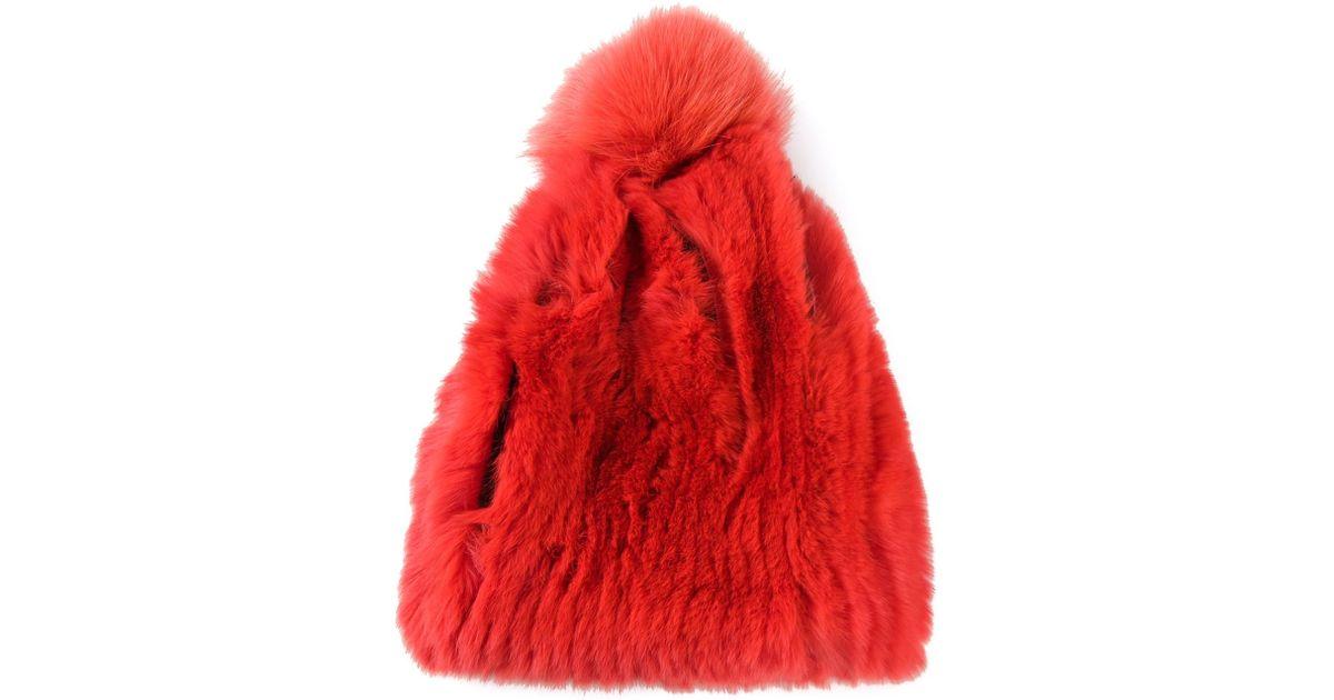 09d864e5bb6 Lyst - Yves Salomon Pompom Beanie Hat in Red