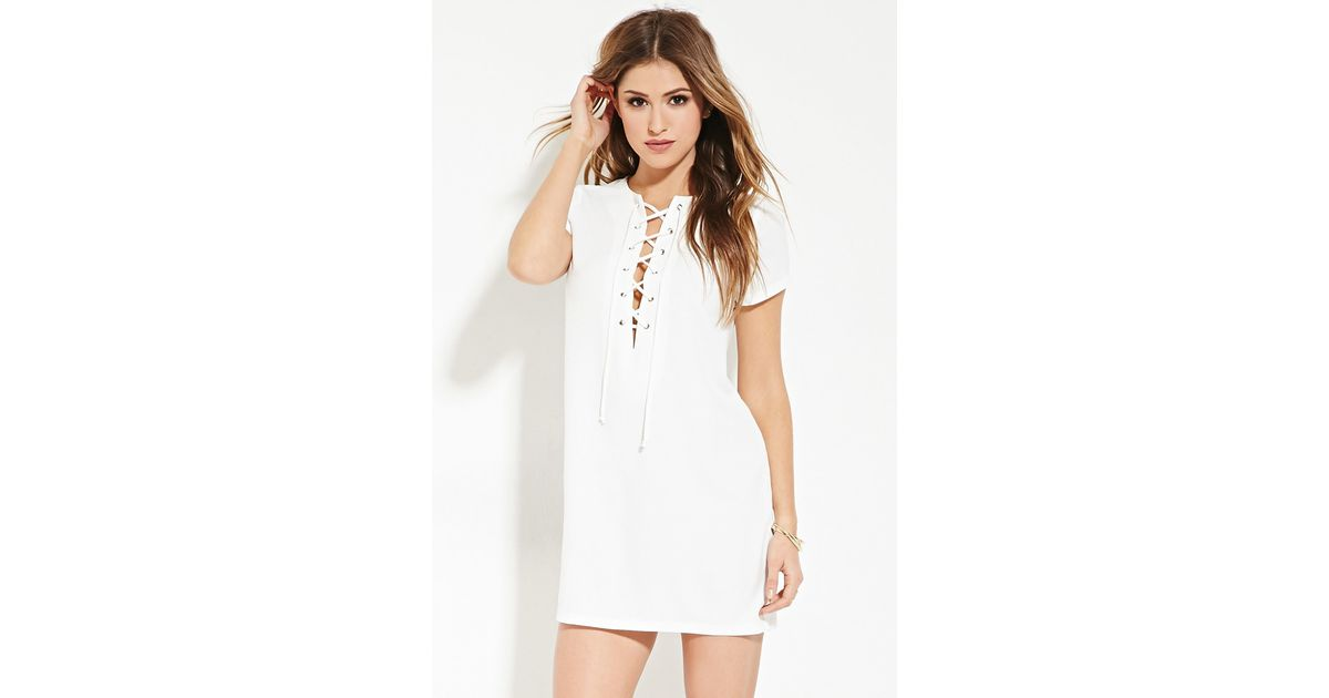 31cec5f808 Lyst - Forever 21 Lace-up Shift Dress in White