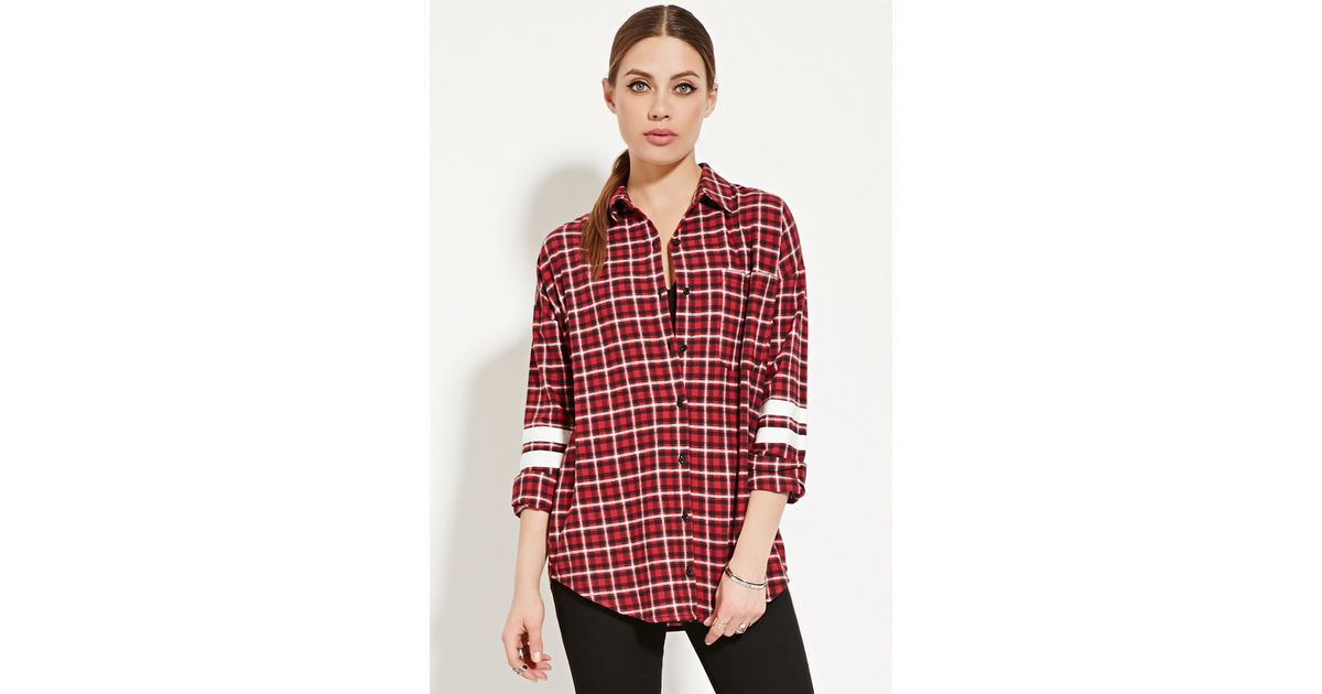 Forever 21 Varsity Striped Flannel Shirt In Red Lyst