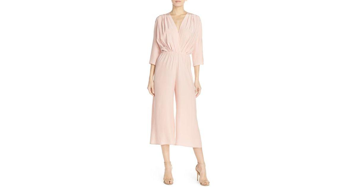 b5dda7128ddb Lyst - Amanda Uprichard Gemma Silk Jumpsuit in Pink
