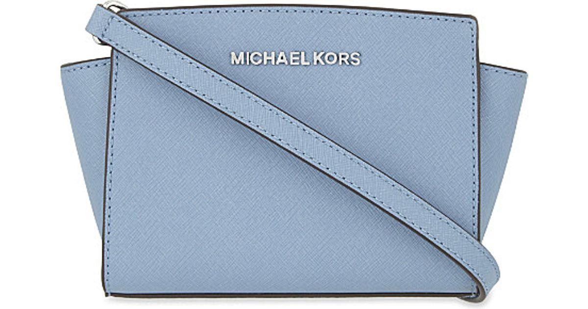 cd9d1b4085f9 MICHAEL Michael Kors Selma Mini Leather Messenger Bag in Blue - Lyst