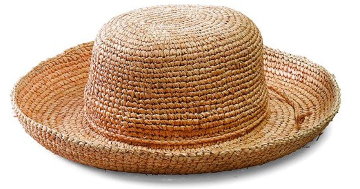 Lyst - San Diego Hat Company Women s Crocheted Raffia Hat in Natural 1ca16d9ee22a