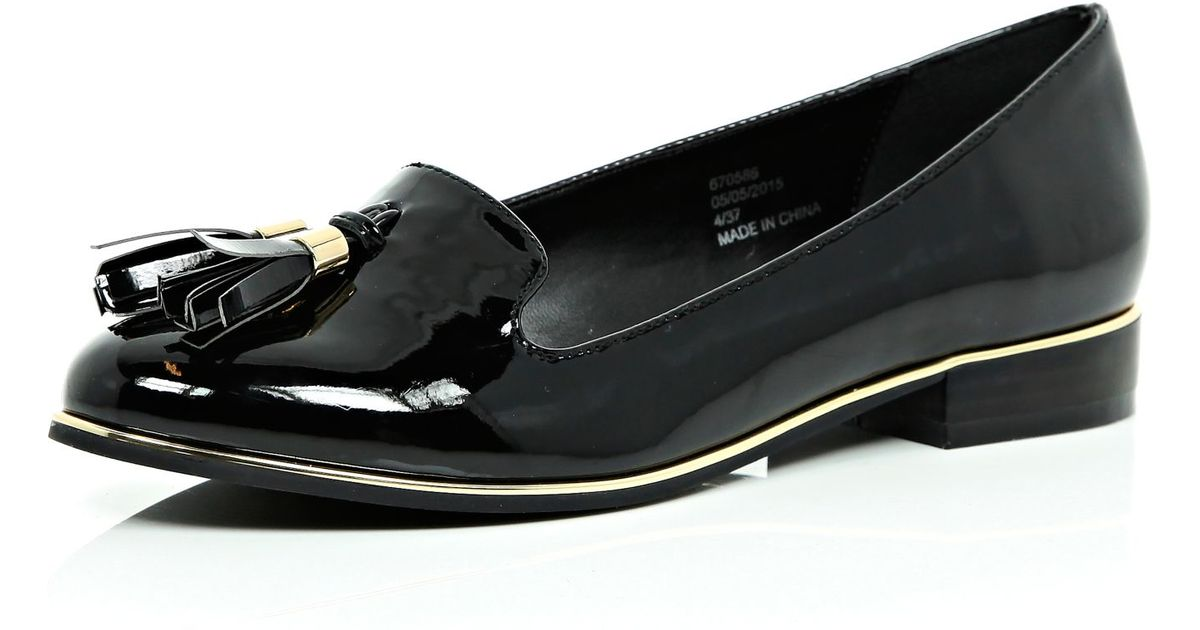 5fb2b7f1a River Island Black Patent Tassel Loafers in Black - Lyst