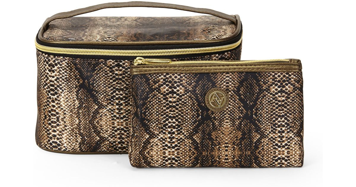 fefdc88e19a0 Lyst Adrienne Vittadini 2 Piece Python Cosmetic Bag Set In Brown
