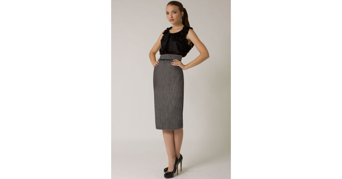 3b63606d52 Black Halo High Waist Tweed Pencil Skirt  online Exclusive  in Blue - Lyst