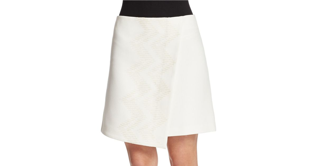 424 fifth embroidered faux wrap a line skirt in white lyst