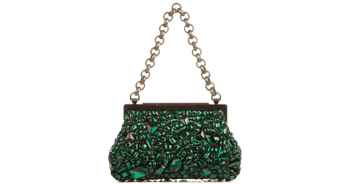Lyst - Dolce   Gabbana Sara Crystal-Embellished Bag in Green 443673e4dbea8