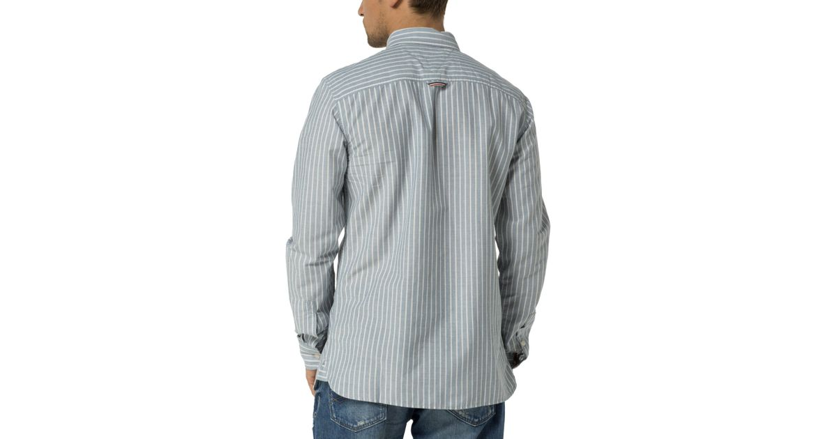 Tommy hilfiger oxford striped shirt in blue for men lyst for Tommy hilfiger fitzgerald striped shirt