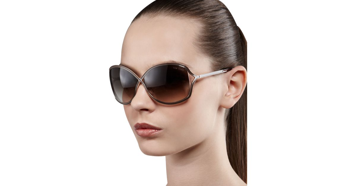 946ec8db48023 Tom Ford Rickie Round Open-Temple Sunglasses in Pink - Lyst