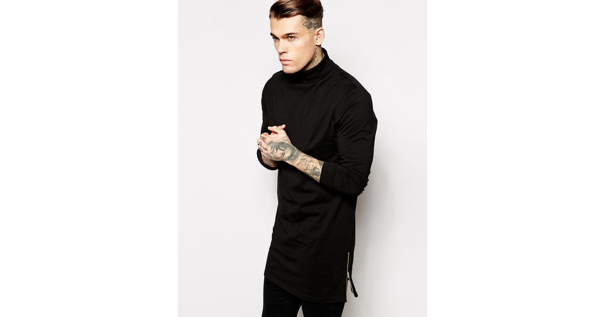 3d92629eec26 ASOS Super Longline Long Sleeve T-shirt With Roll Neck And Side Zips in  Black for Men - Lyst