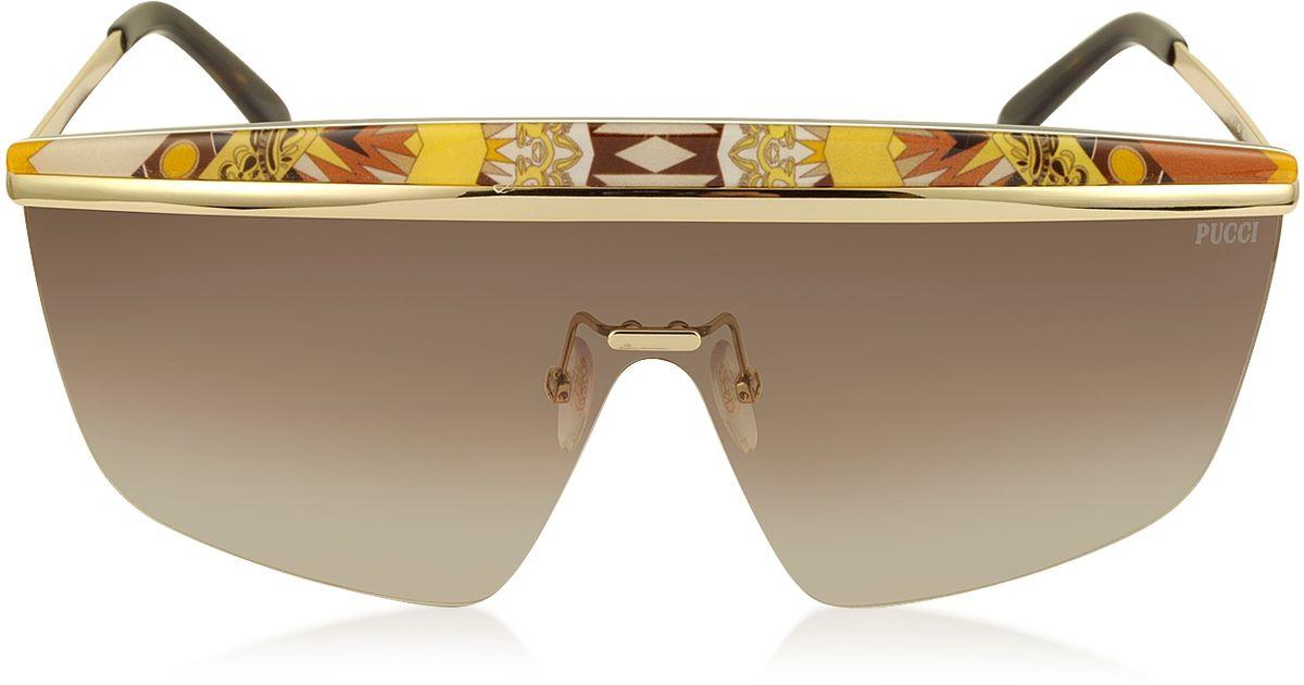 6327fc1465 Emilio Pucci Ep0007 Fantasy Metal Shield Sunglasses in Metallic - Lyst
