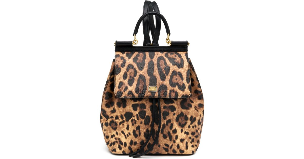 f70c8337bfab Lyst - Dolce   Gabbana Sicily Small Leopard-print Coated Canvas   Leather  Backpack in Brown