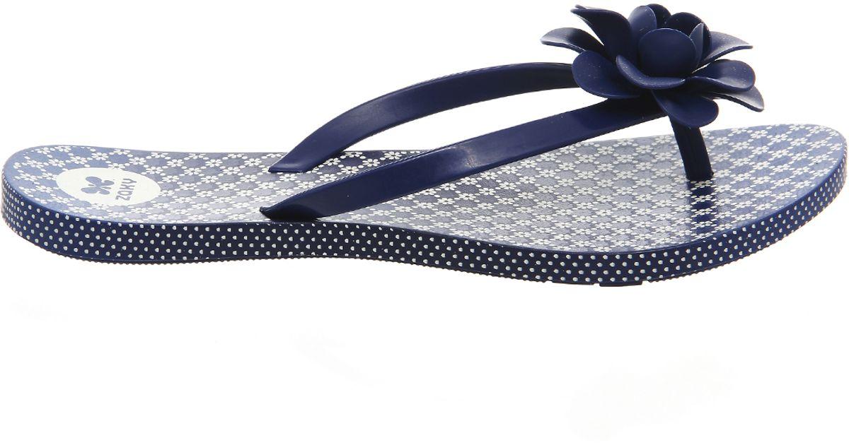 6997511d92410 Lyst - Zaxy Flowers Flip Flop in Blue
