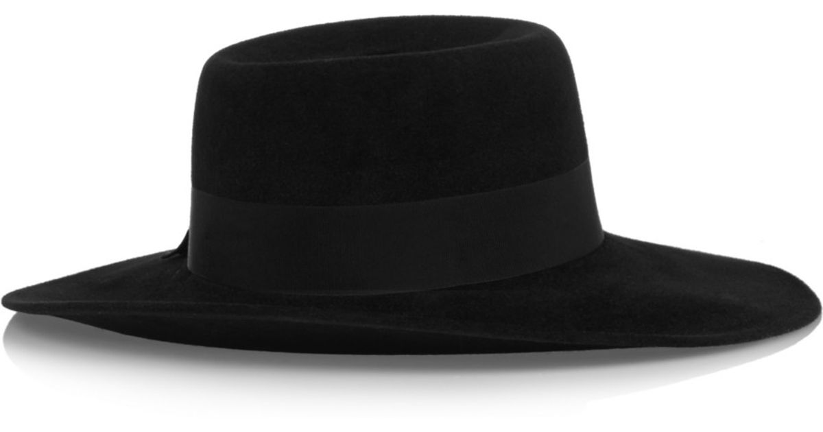 3102fe98a220c3 Lyst - Gucci Wide-brim Rabbit-felt Hat in Black
