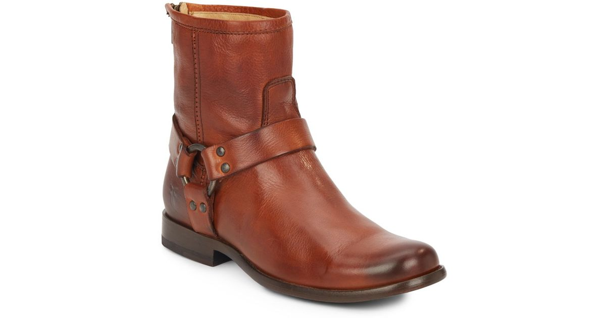 frye phillip harness leather ankle boots in brown lyst