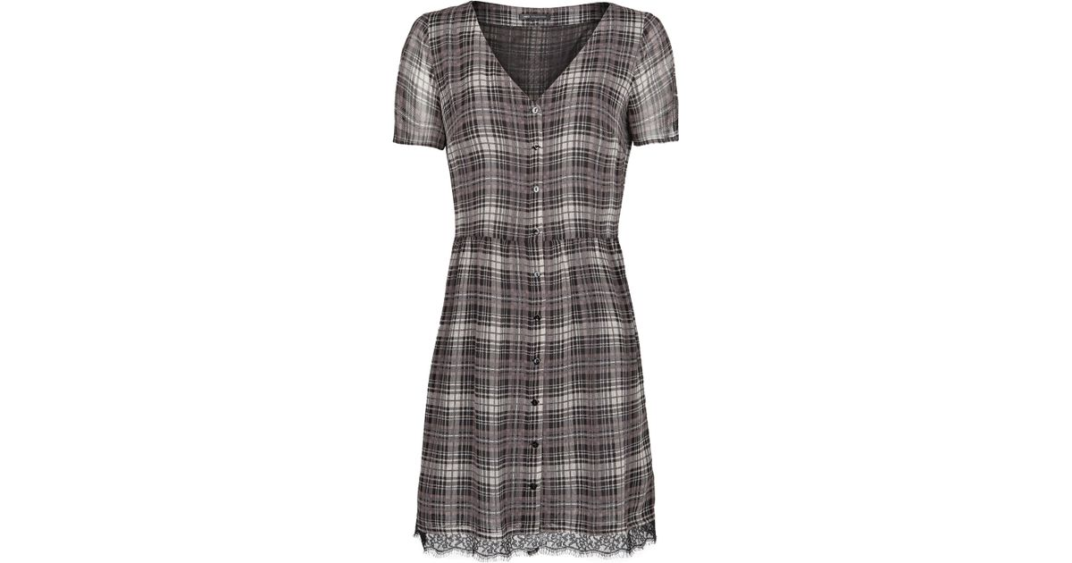 Lyst mango lace appliqué check dress in black