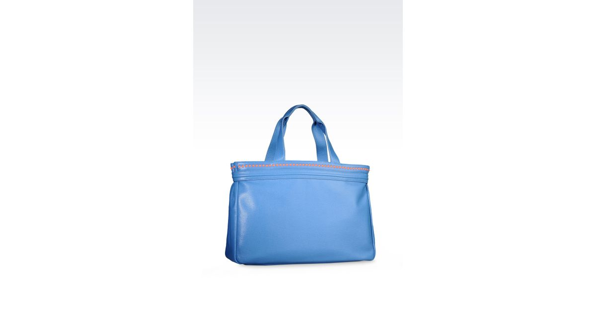 Armani Jeans Tote Bag in Eco Leather with Charm in Blue - Lyst 2c2a55a818