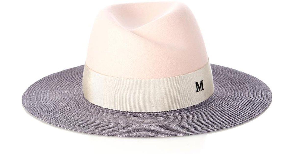 Maison Michel Virginie Fur-Felt And Straw Hat in Pink - Lyst 17833672240