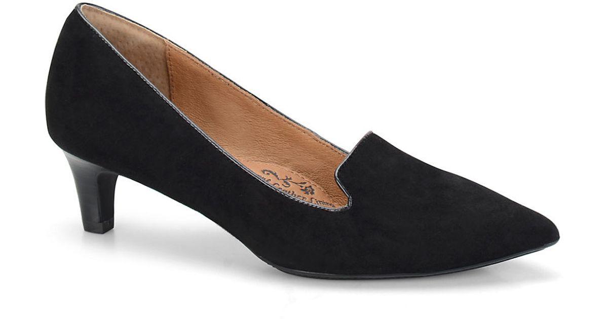 s 246 fft vesper suede kitten heel loafers in black lyst