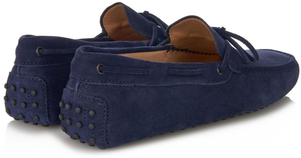 fe6f6de8d88 Tod's Gommino Suede Driving Shoes in Blue for Men - Lyst