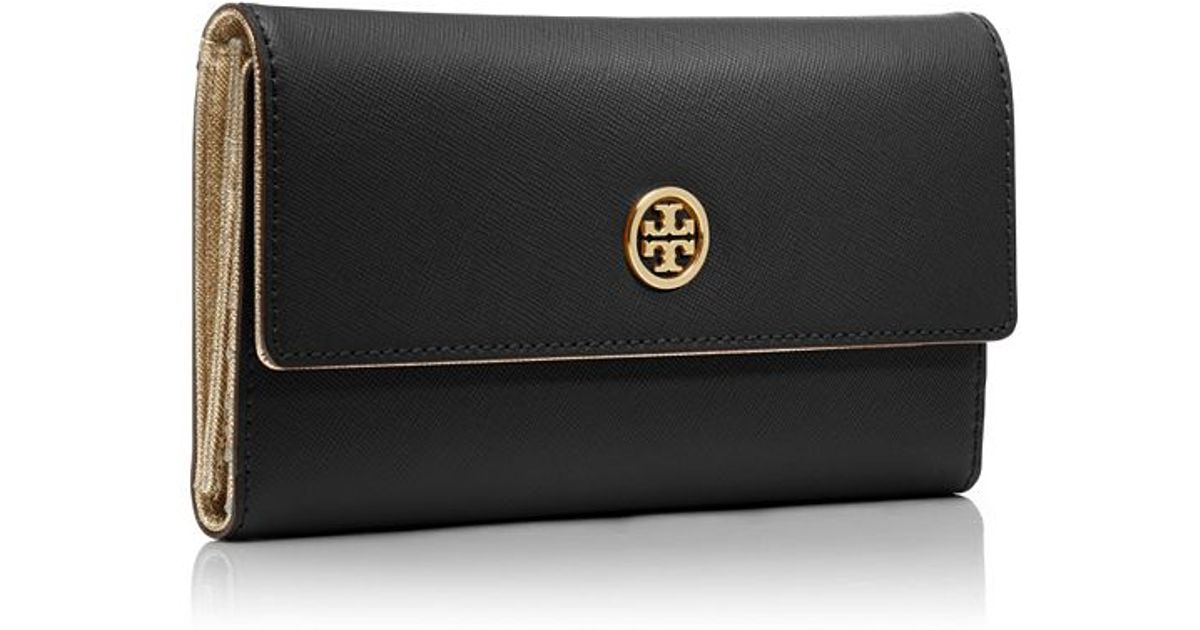 b75644c1fde8 ... hot lyst tory burch robinson continental trifold wallet in black ba413  d13e2