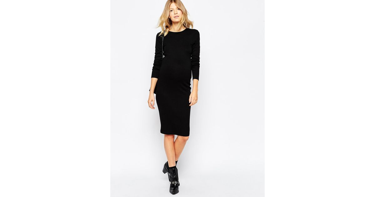 47fab6c3ca1c ASOS Midi Bodycon Dress With Long Sleeves In Rib in Black - Lyst