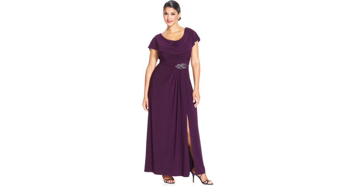 Lyst Patra Plus Size Flutter Sleeve Jewel Gown In Purple