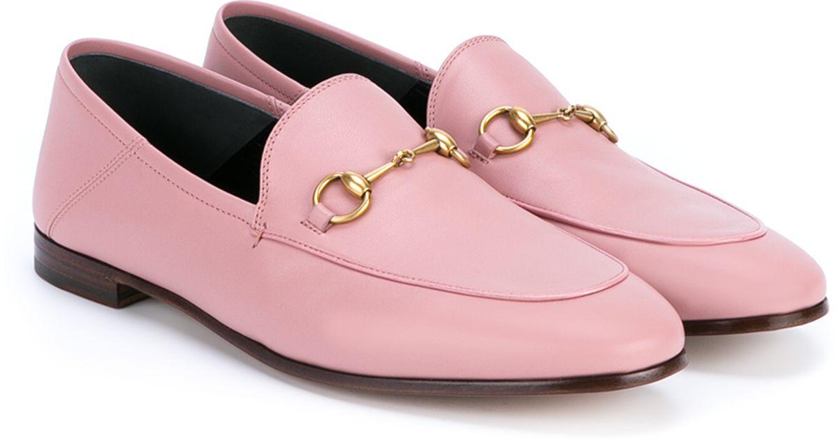 1d93fa56a Gucci Jordaan Horsebit Loafers in Pink - Lyst