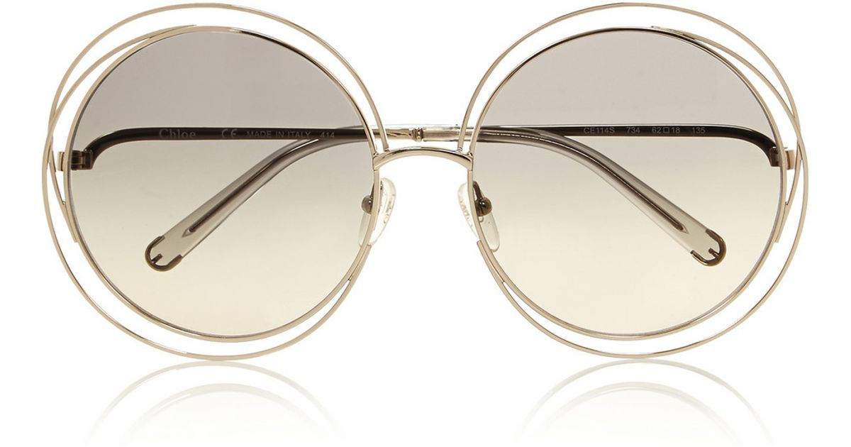 35ca109ed98 Chloé Carlina Oversized Round-Frame Stainless Steel Sunglasses in Gray -  Lyst