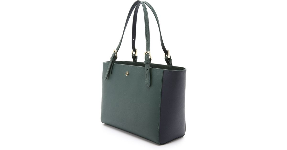 b0ac210f5a0a Lyst - Tory Burch York Small Buckle Tote - Jitney Green tory Navy in Green