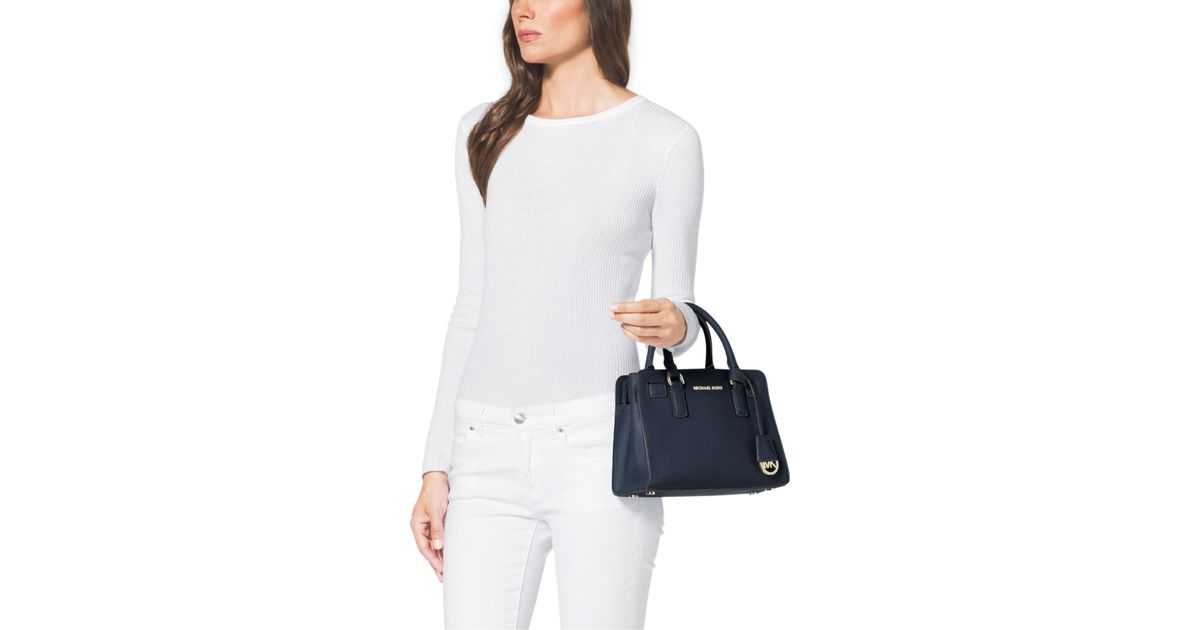 a834a4a9bcac4 Lyst - Michael Kors Dillon Small Saffiano Leather Satchel in Blue