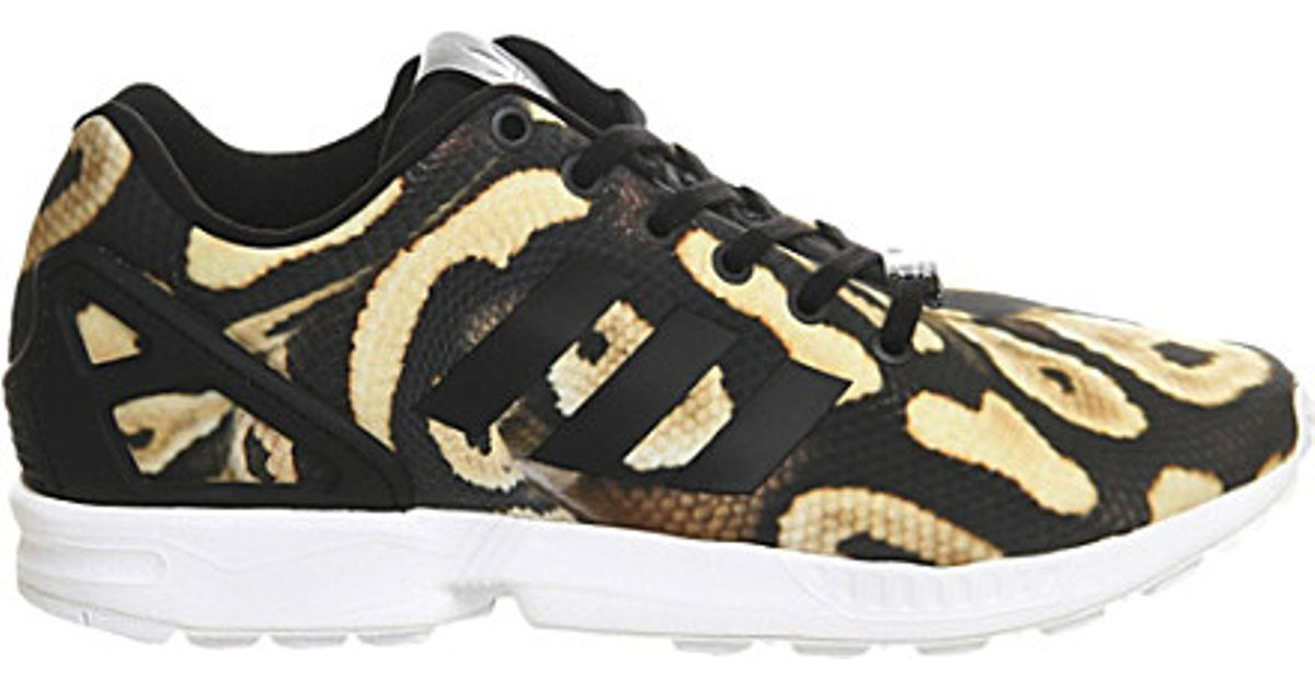 new style c05c4 bc6f4 adidas Zx Flux Animal-print Trainers - For Women in Black - Lyst