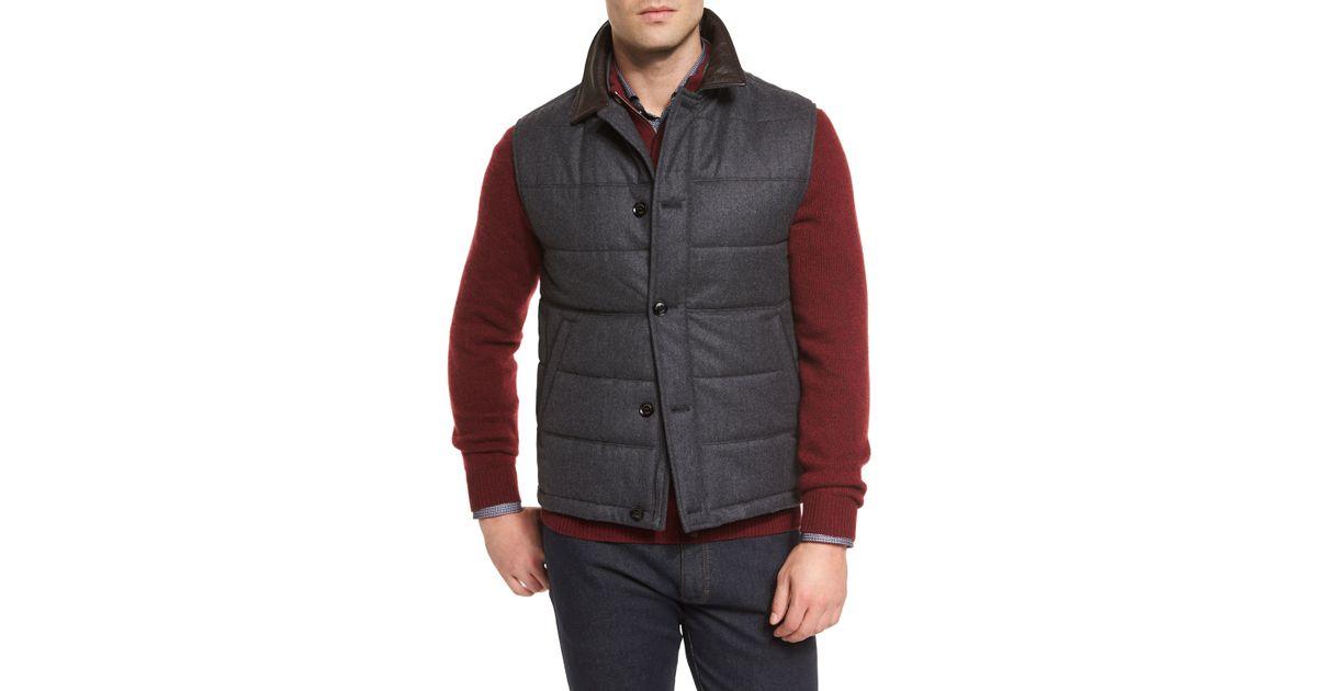 Ermenegildo Zegna Quilted Flannel Button Down Vest In Gray