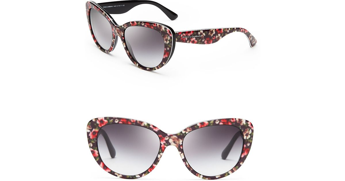 ab5ea132690f Dolce & Gabbana Floral Cat Eye Sunglasses - Lyst