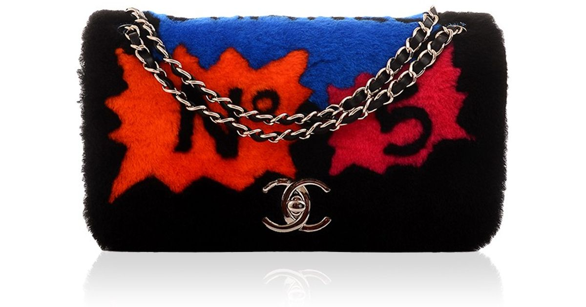 cddbce387689 Lyst - Madison Avenue Couture Chanel Limited Edition Patchwork Shearling Flap  Bag