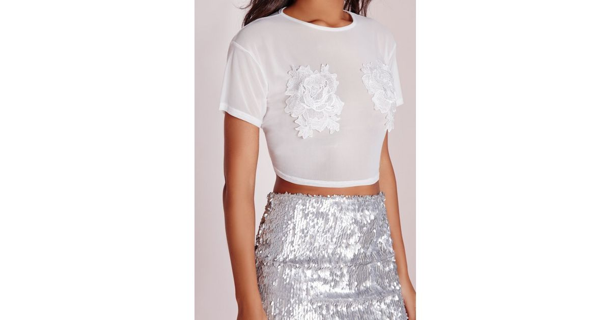 Missguided mesh floral applique crop top white lyst