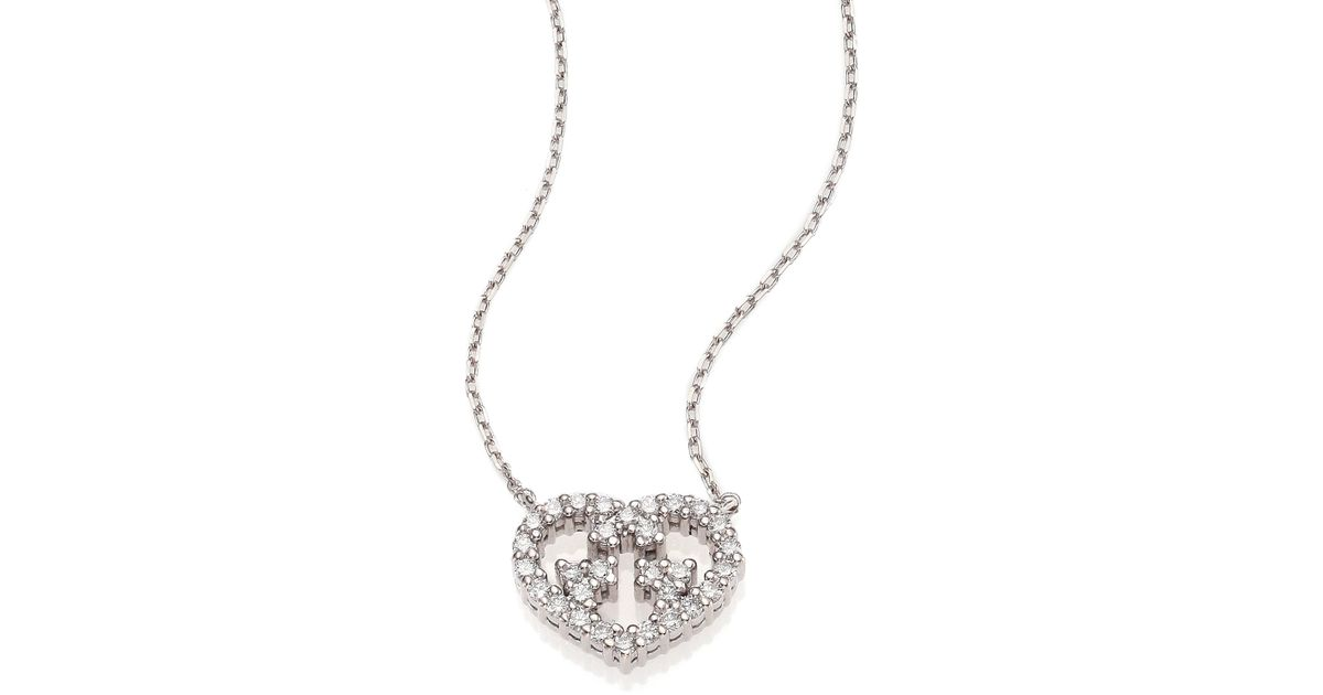 d35fd69938af0 Lyst - Gucci Love Britt Diamond   18k White Gold Pendant Necklace in  Metallic