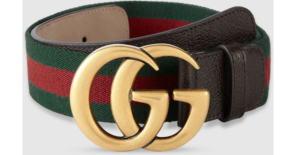 b2124eb7ab9 Lyst - Gucci Web Belt With Double G Buckle in Metallic