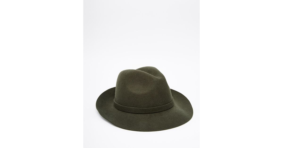 d2efcf4d1e399 ASOS Fedora Hat In Khaki Felt in Green for Men - Lyst