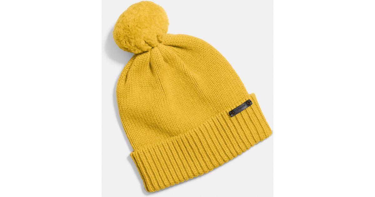Lyst - COACH Sheepskin Pom Hat in Yellow 638ea3731cb