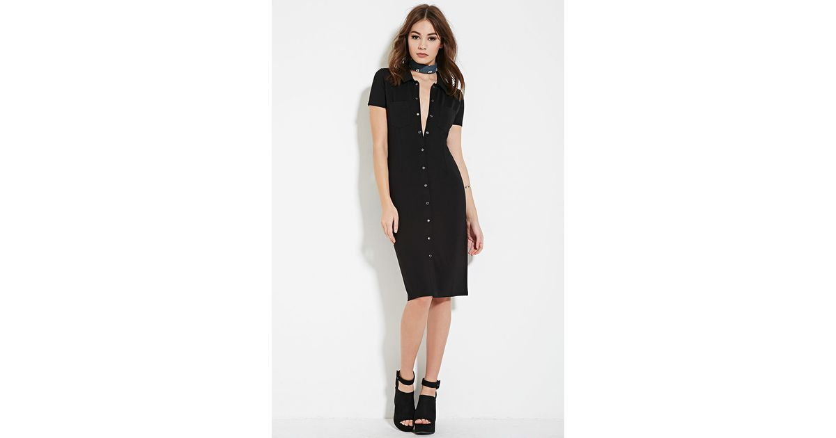 Forever 21 snap button shirt dress in black lyst for Mens shirts with snaps instead of buttons