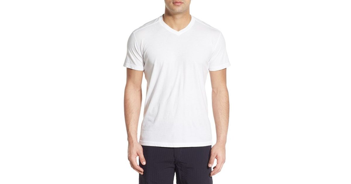 Minerals supima cotton v neck t shirt in white for men lyst for Supima cotton dress shirts