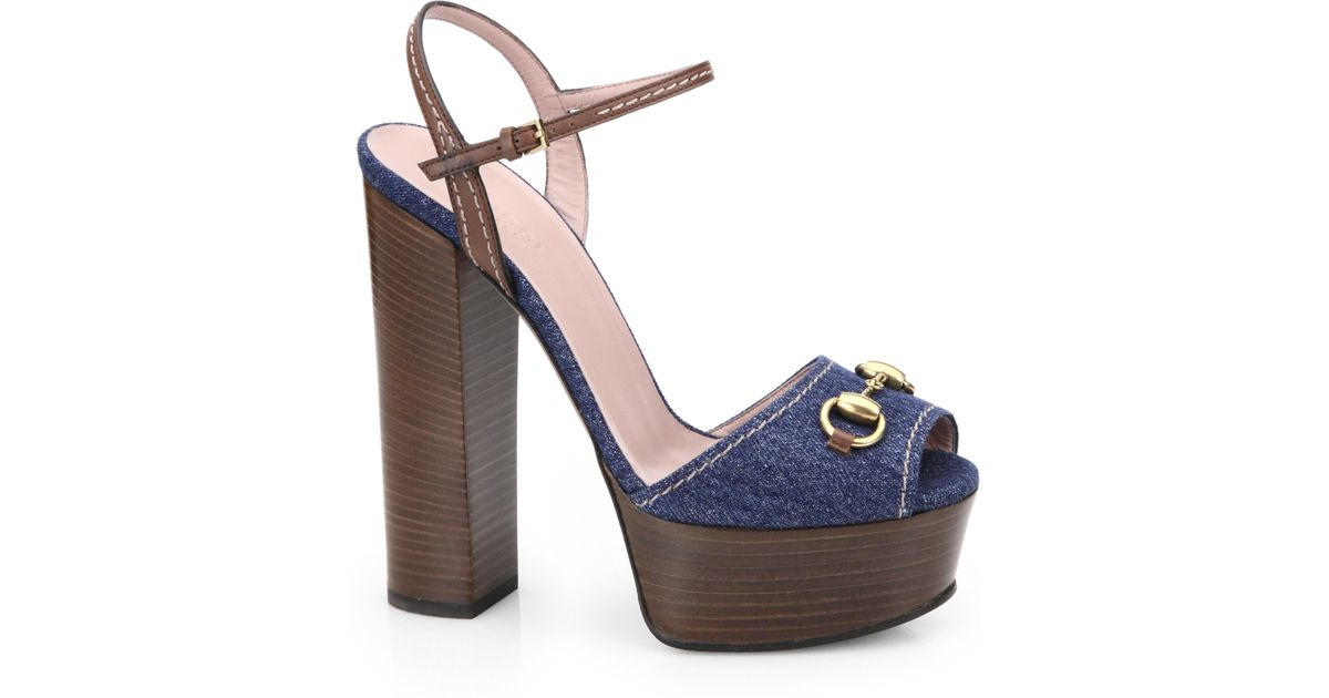 Lyst - Gucci Claudie Denim Platform Sandals in Blue b82ef84e0a62