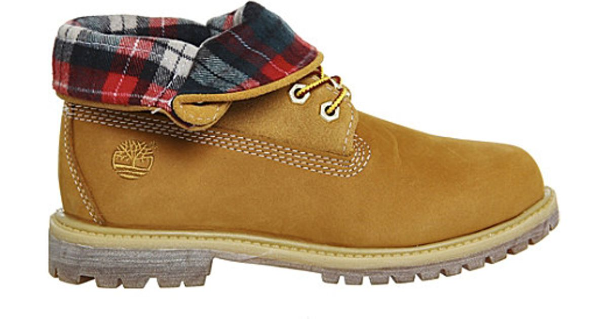 183b10fc0fc7 Timberland Authentics Leather Nubuck Roll Top Boots in Natural - Lyst