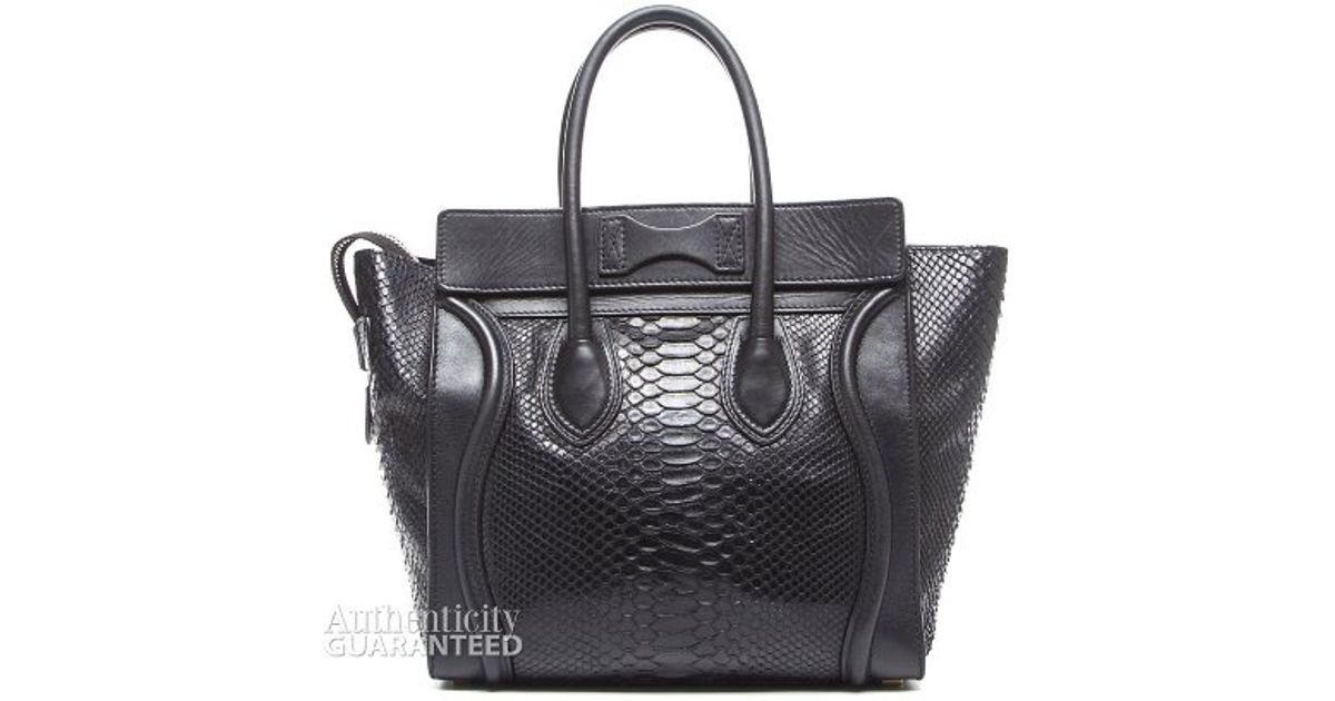 Céline Pre-Owned Black Python Leather Micro Luggage Tote Bag in Black - Lyst fe1edc85adba9