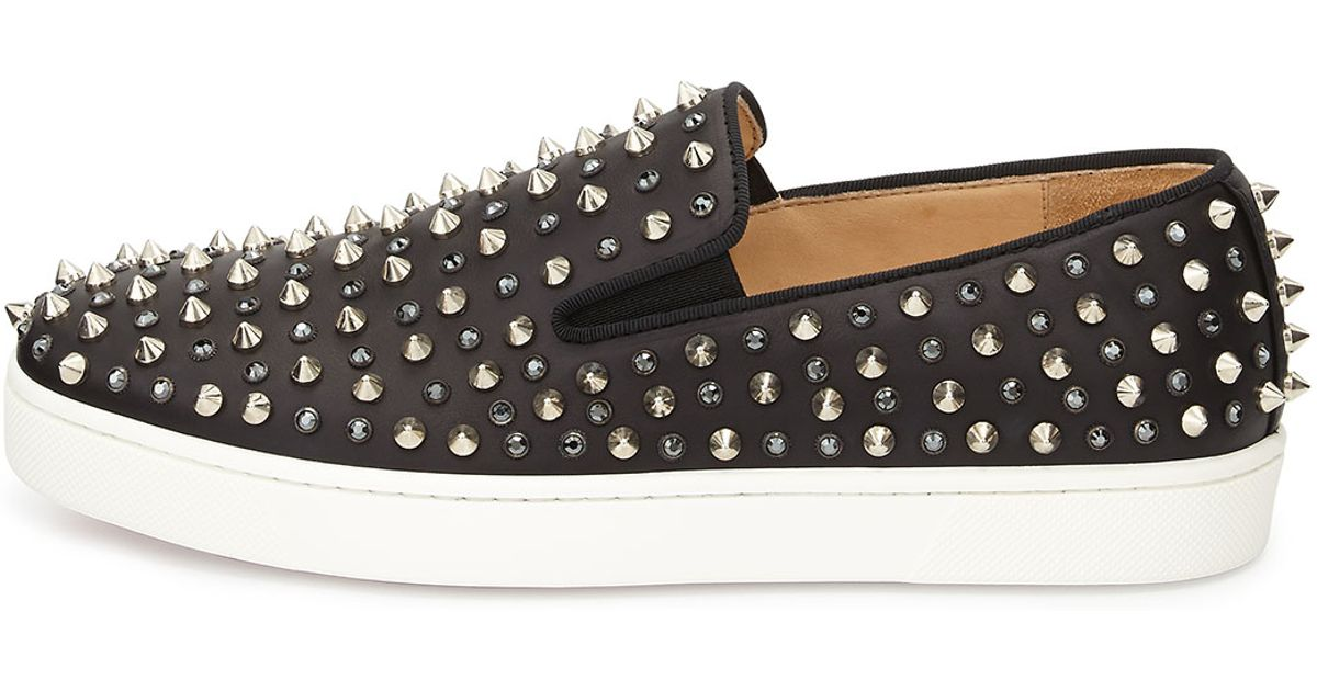 a0f270c00fe Lyst - Christian Louboutin Roller Flat Skate Shoe With Spikes in Black