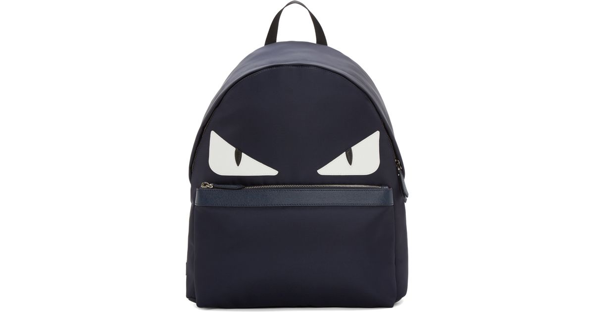 Lyst - Fendi Navy Nylon Monster Backpack in Blue for Men 28558a1afed58